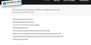 SBI PO 2016 links