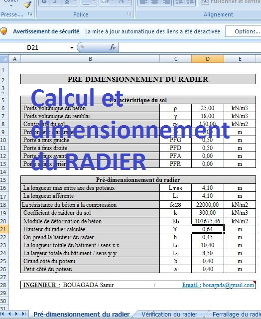calcul et dimensionnement du radier sur excel cours g nie civil outils livres exercices et. Black Bedroom Furniture Sets. Home Design Ideas