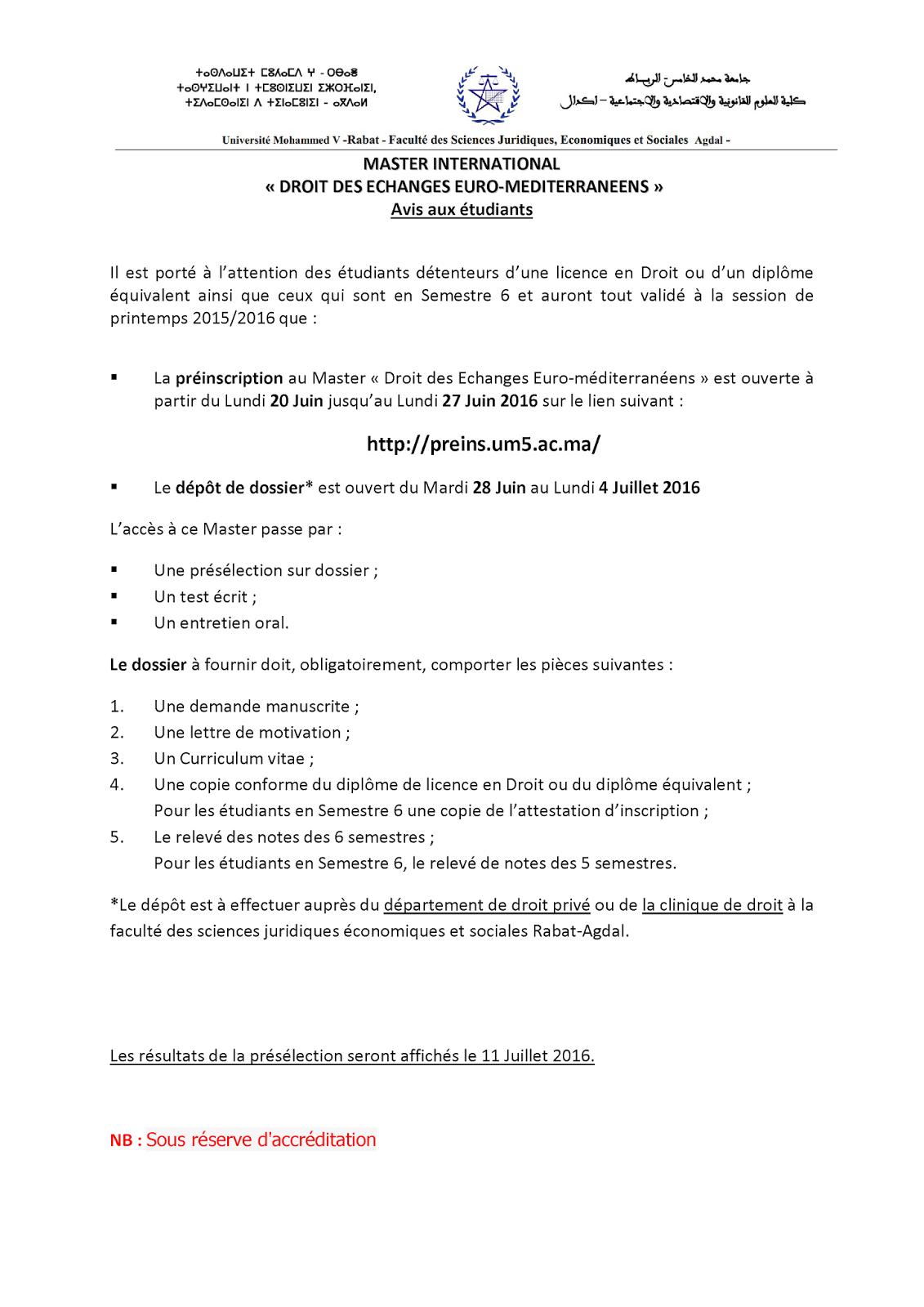 master international droit des echanges euro 2017