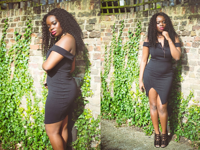 BOOHOO BLACK BODYCON PARTY DRESS