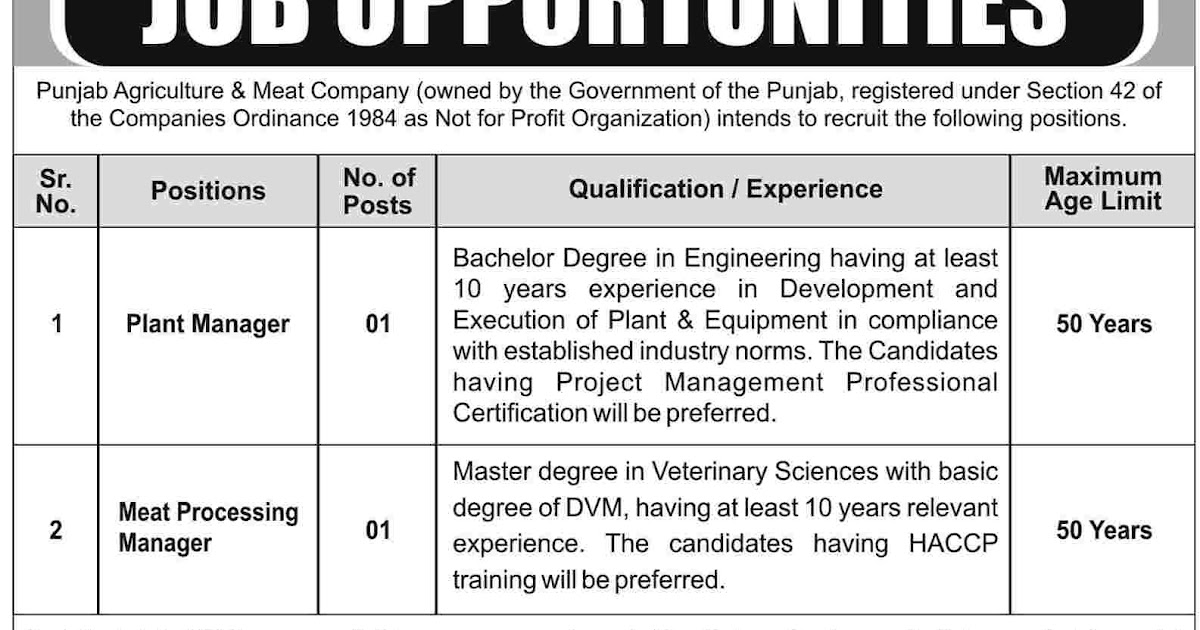 Jobs in Punjab Agriculture & Meat Company Lahore - Daily Pak