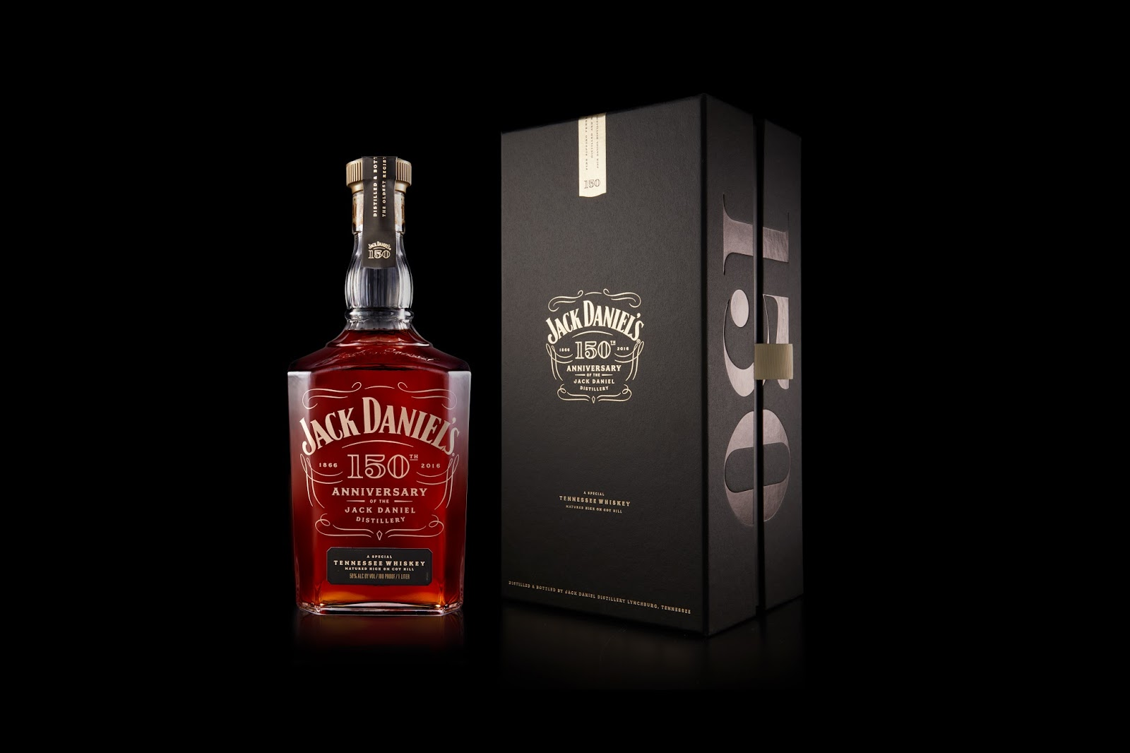 Jack Daniels Tennessee Whiskey Glass 150th Anniversary 2016 UK Edition Boxed