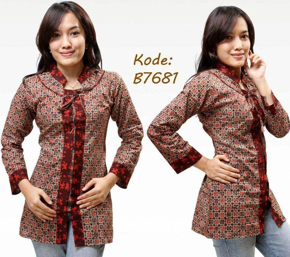 7 Model Baju Batik Kantor Wanita Trendy e71d8bd9f1