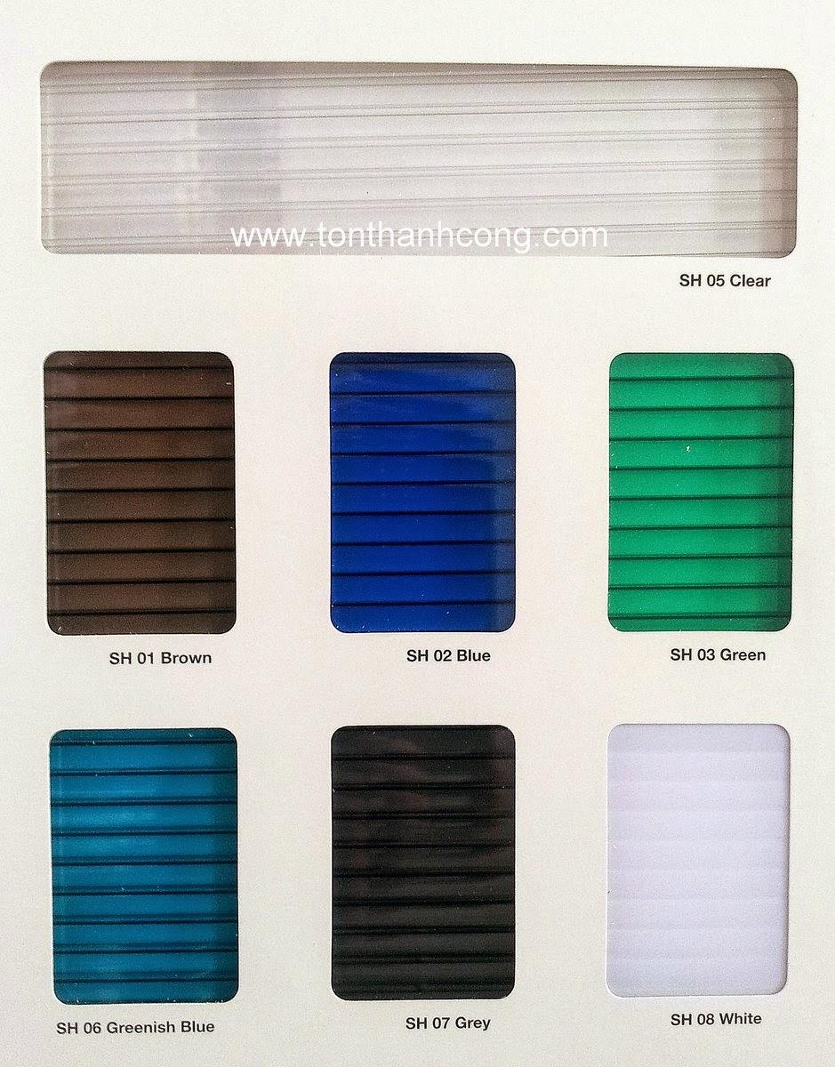 Bảng màu tấm lấy sáng Polycarbonate rỗng ruột SUNLITE Malaysia
