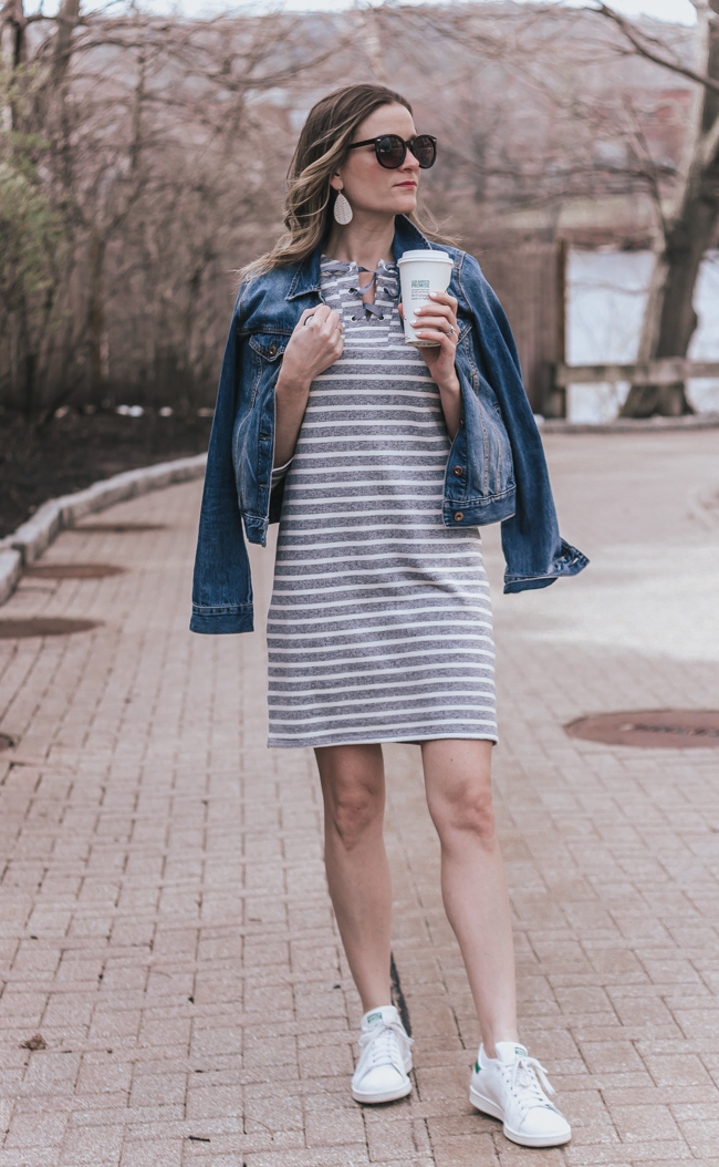 Stripe Sweater Dress #stripe dress #peach #spring fashion