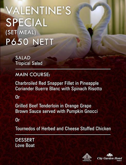Valentine Special Menu at Encima Roofdeck Restaurant