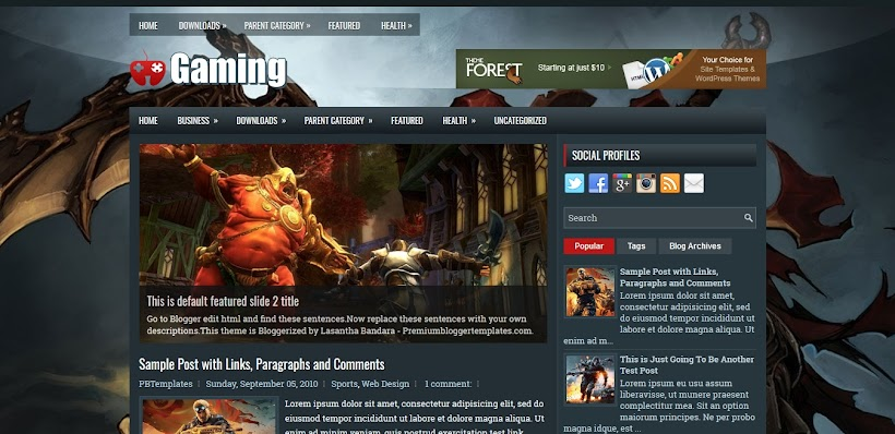 Gaming Free Blogger Template