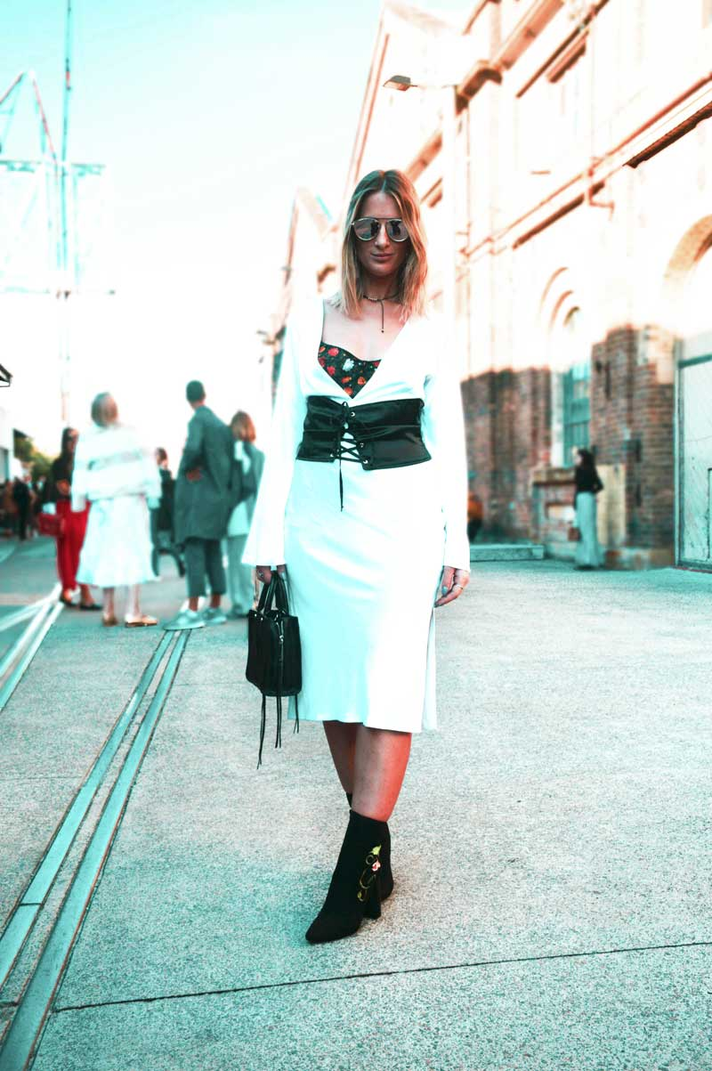 mercedes benz fashion week australia 2017 street style white dyspnea dress and embroidered ankle boots