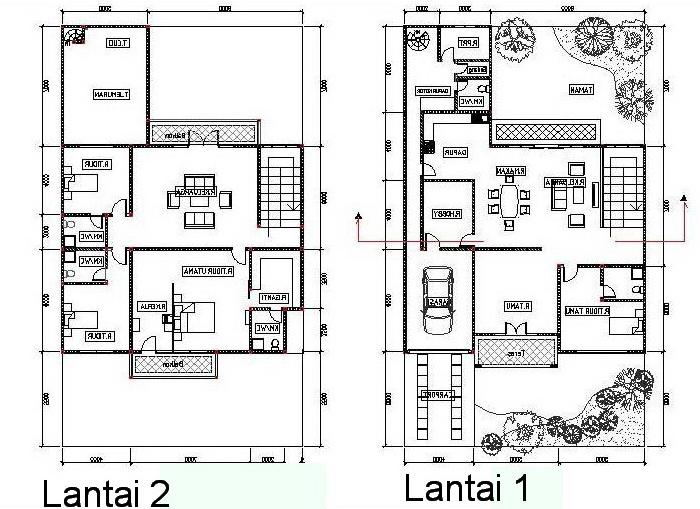 06 Denah Rumah Minimalis Type 60 1 lantai 2 lantai