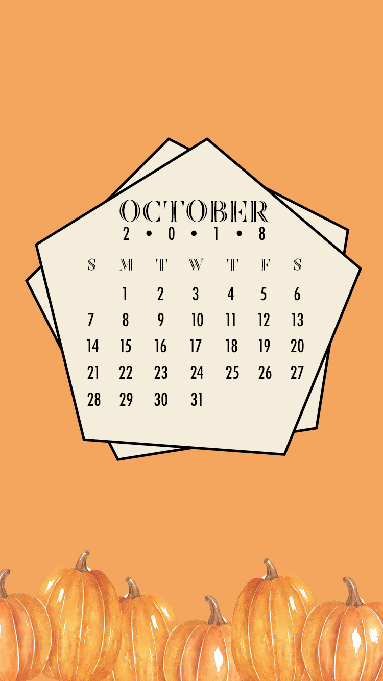 free mobile digital calendar - october 2018