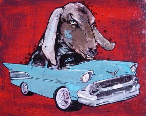 57 Chevy Goat Head limited giclee print. Handmade. By Zachary Prior