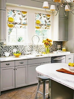 Small kitchen design with Beautiful Curtains