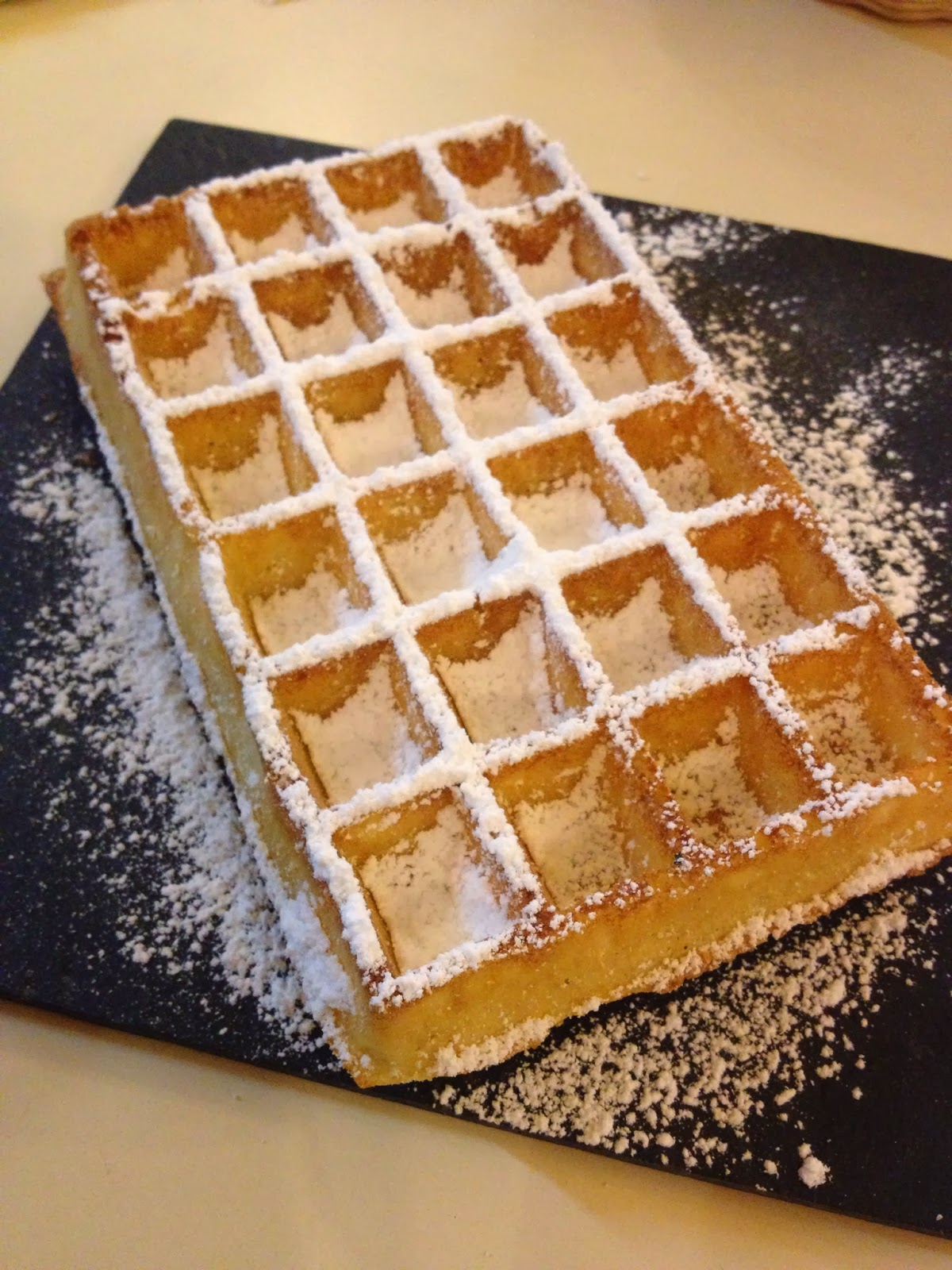 Brussels - Traditional Belgian waffle with powdered sugar