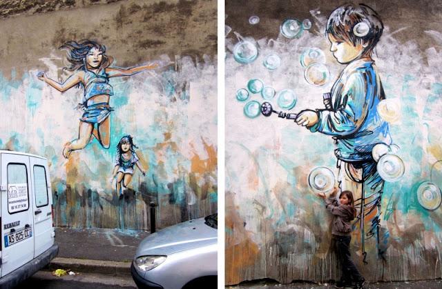 Рисунки на стенах. Alice Pasquini 12