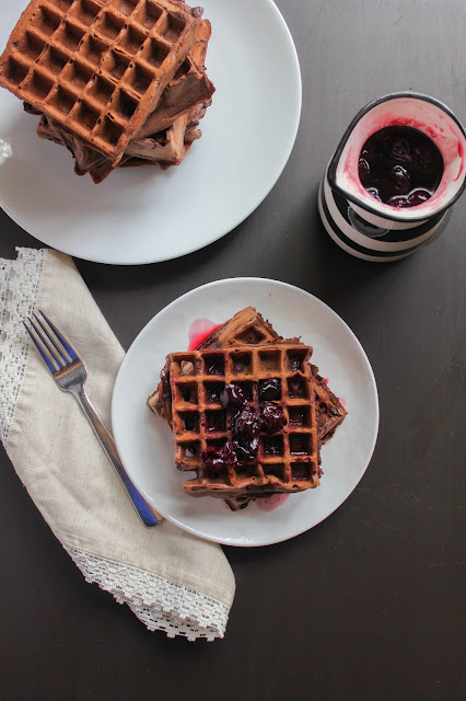Dark Chocolate Waffles with Cherry Syrup | The Chef Next Door #SundaySupper