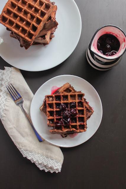Dark Chocolate Waffles with Cherry Syrup | The Chef Next Door #SundaySupper