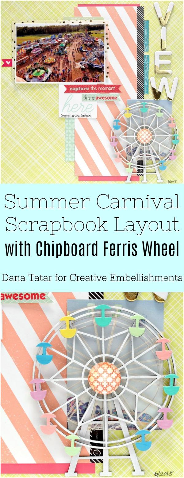 Summer Carnival Scrapbook Layout with Chipboard Ferris Wheel Embellishment