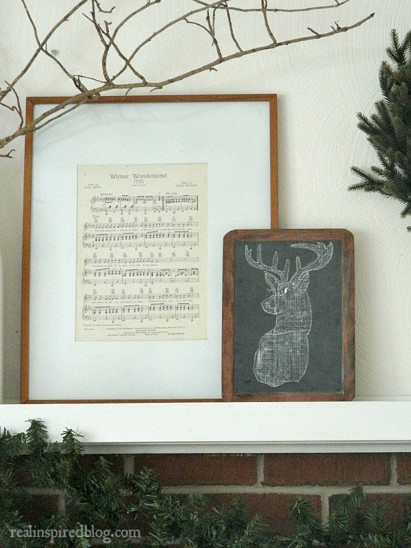 Rustic Christmas Home Tour 2015: Winter Wonderland Framed Sheet Music and Chalkboard Deer art
