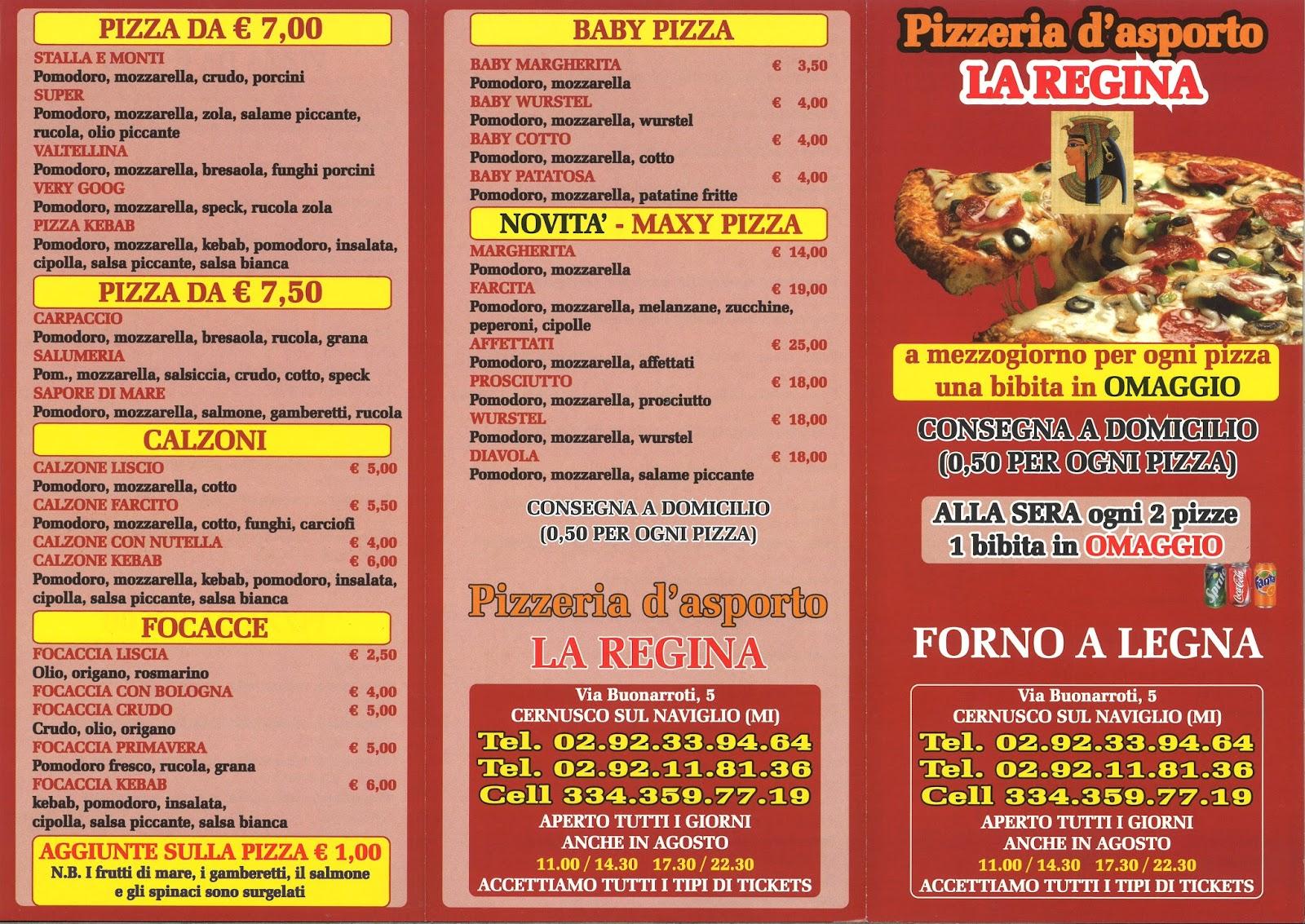 Menu e prezzi marzo 2016 for Pizza pizzeria