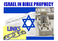 a graphic by Erika Grey of Israel in Bible Prophecy Links which is set against the flag of Israel and above the Israeli flag is the title in large blue capital letters Israel in Prophecy.  In the center of the flag is the opening page of the book of Revelation and it reads, The Revelation and  next to the Israeli star that is on the flag of Israel is a model of the second Jewish temple and below the star is the word Links in capital blue letters and below links is a piece of a silver chain enlarged and it is highlighted in a yellow background.