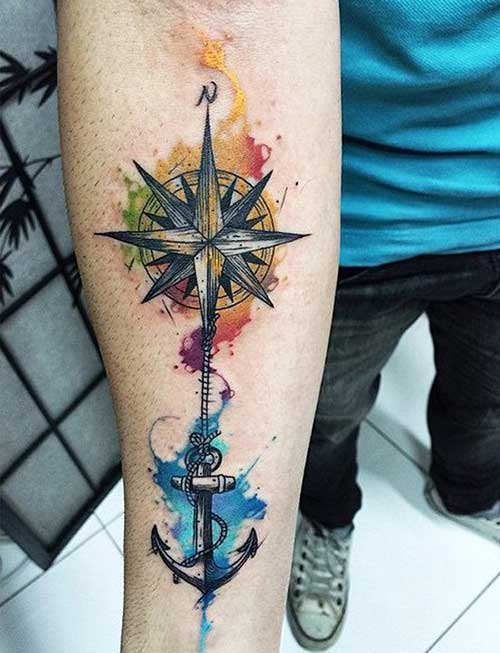 çapa ve pusula dövmesi anchor and compass tattoo