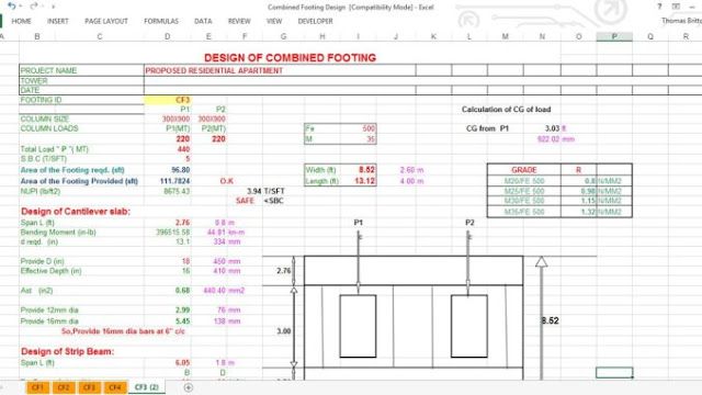 Combined Footing Design (excel spreadsheet) - Engineering Society