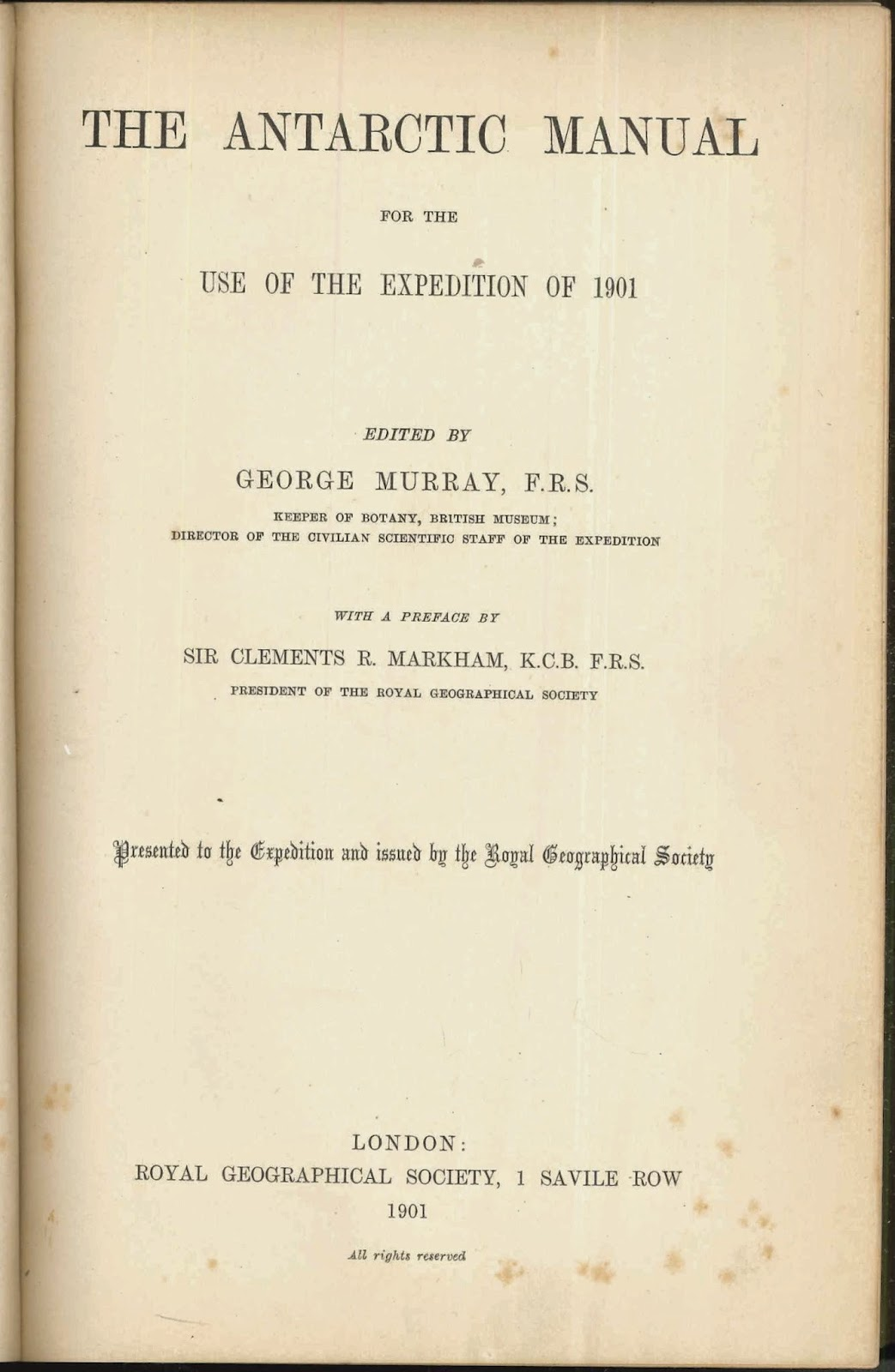 "A title page for ""The Antarctic Manual."""