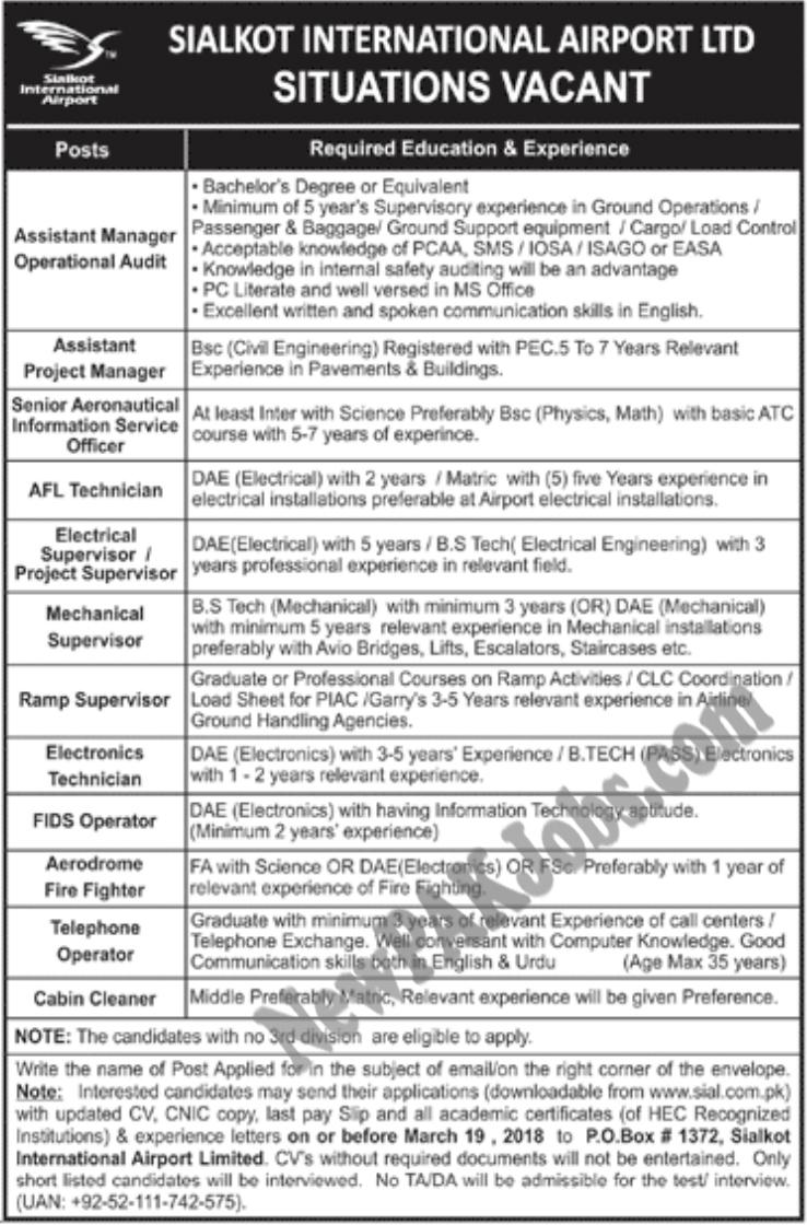 Jobs in Sialkot International Airport
