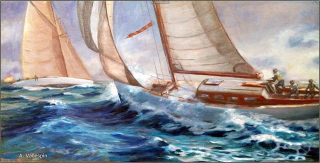 Marina al oleo de un velero navegando