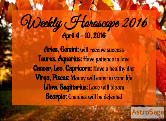 Weekly Horoscope 2016 for this week is here.