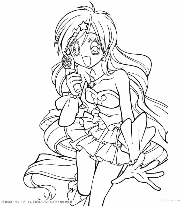 Anime Mermaid Colouring Coloring Pages