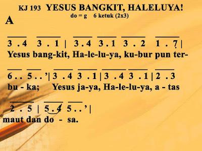Lirik dan Not Kidung Jemaat 193 Yesus Bangkit, Haleluya,