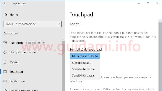 Windows 10 finestra Impostazioni Tocchi Sensibilità Touchpad