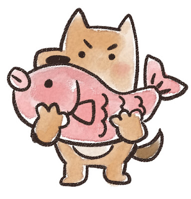 鯛を持ち上げる犬のイラスト(戌年)