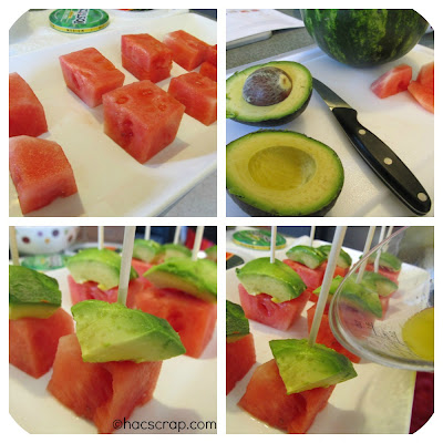 Avocado Watermelon Skewers Assembly