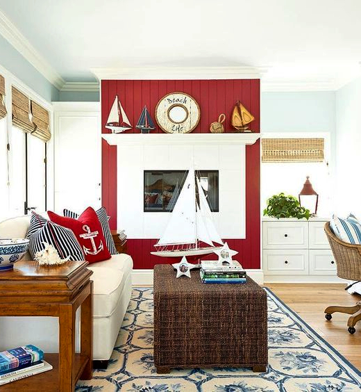 Red Painted Accent Wall