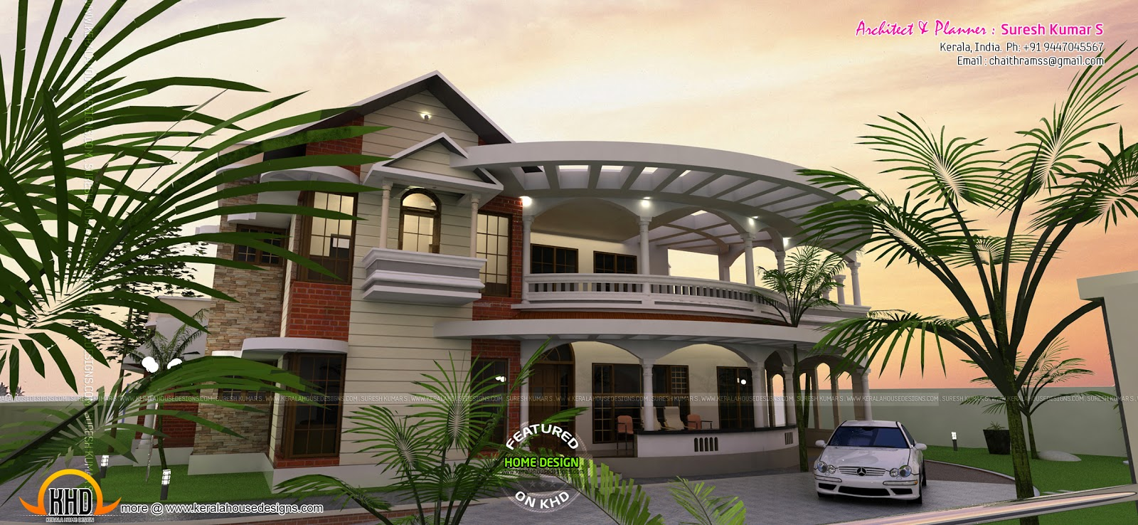 Exterior house plans with balconies for Exterior house design with balcony