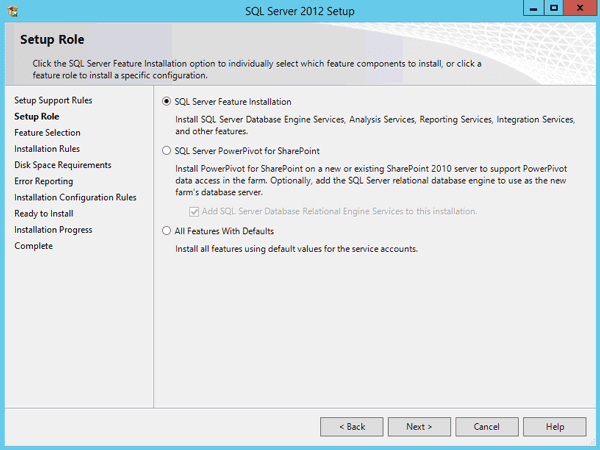 choose SQL Server feature installation
