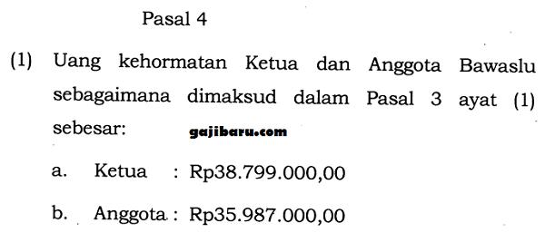 gaji anggota bawaslu