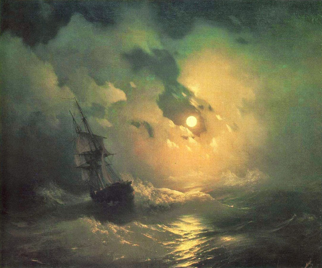 Ivan Aivazovsky Stormy Sea at Night