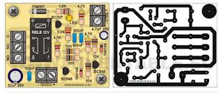 """Vue illustrée et circuit imprimé de la bascule """"T"""" avec transistors et sortie à relais"""