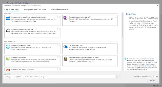 Captura de Visual Studio 2017.