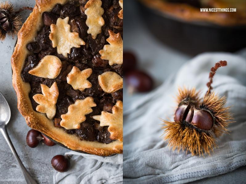 Hirschgulasch mit Maronen und Schokolade als herzhafter Pie unter der Teighaube