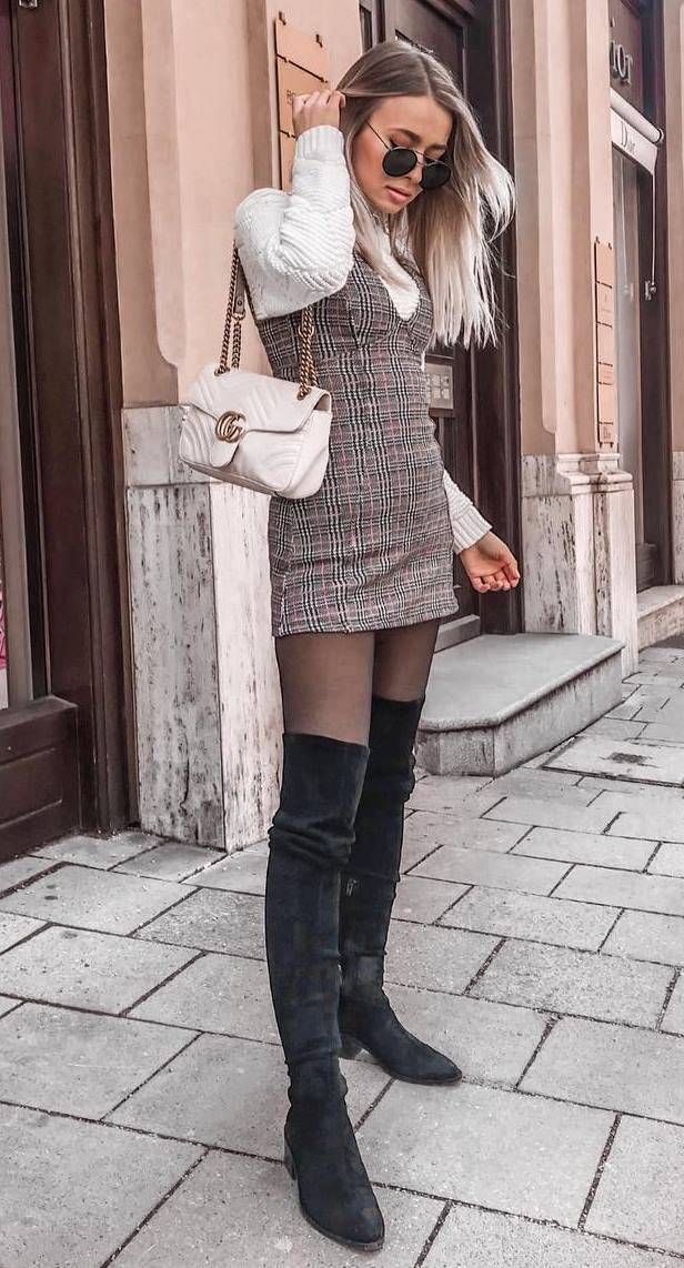 best fall outfit / white sweater + plaid sundress + over knee boots + bag