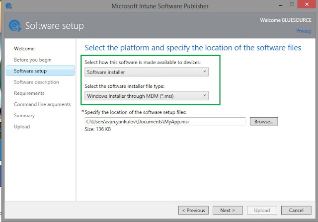 Intune Publish MSI