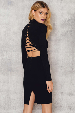 NA-KD, fashion, online shop, back lacing, high neck, dress, black