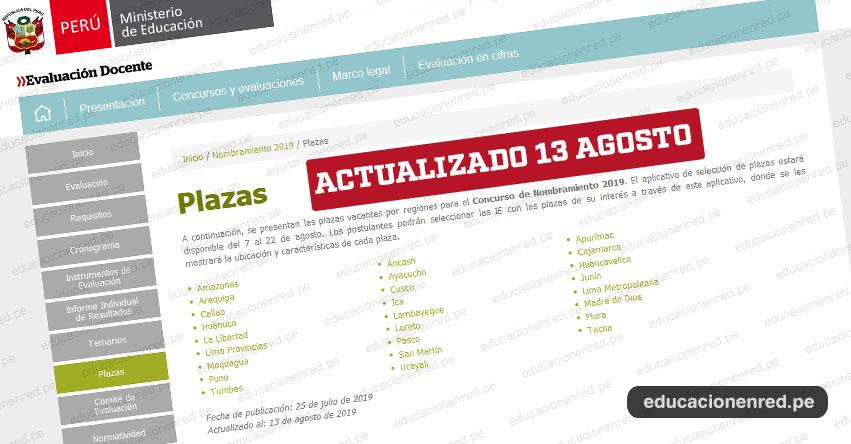 MINEDU publicó nueva Lista de Plazas Vacantes para Nombramiento Docente 2019 (ACTUALIZADO AL MARTES 13 AGOSTO) www.minedu.gob.pe