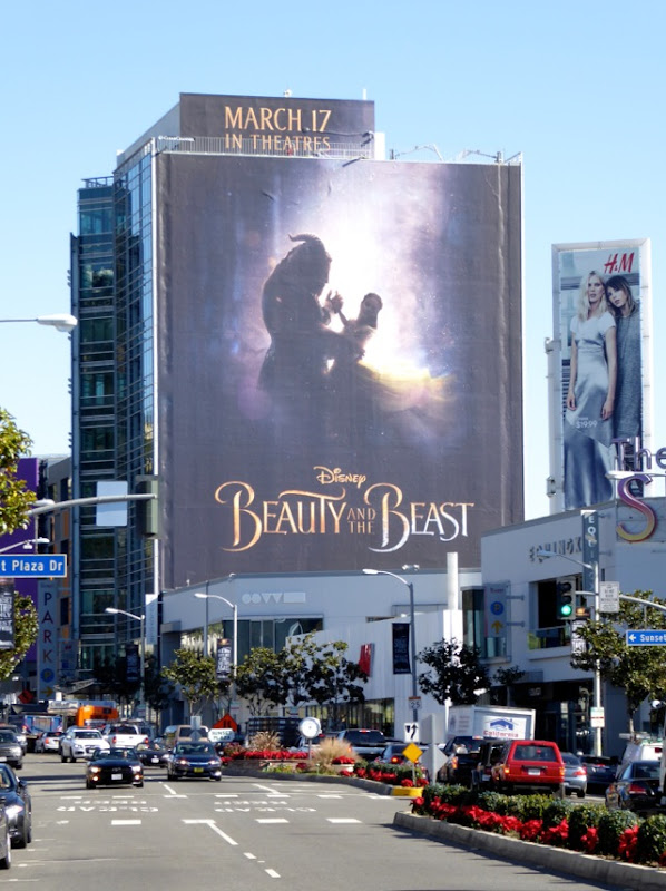 Disney Beauty and Beast teaser billboard Sunset Strip
