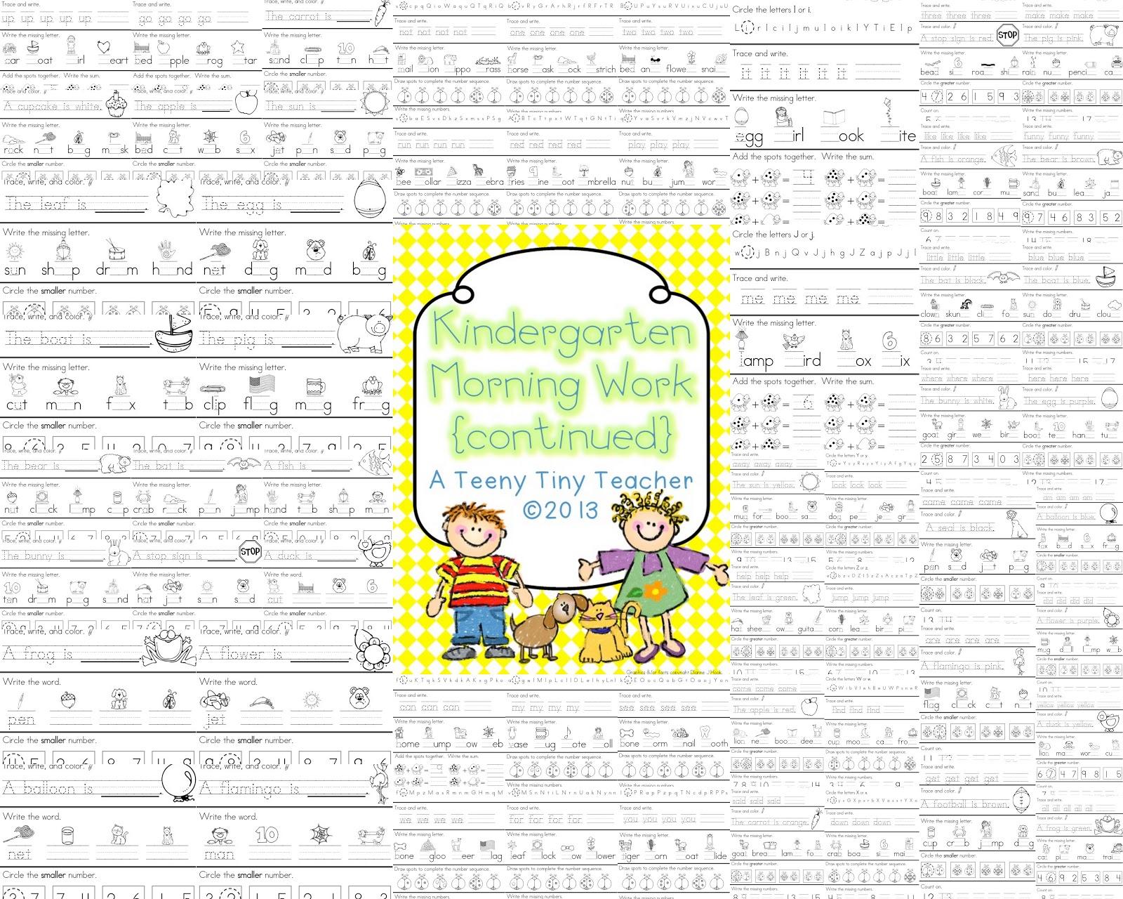 Kindergarten Morning Work Continued