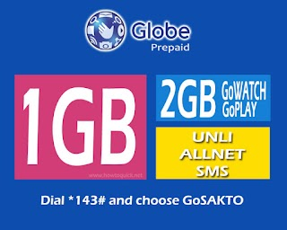GoSAKTO 70 – 2GB GoWATCH and Play, 1GB data, Unli All-net for 7 Days